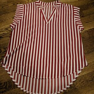 Red and white short sleeve shirt